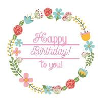 happy birthday card floral wreath vector