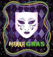 costume mask and necklace balls to mardi gras celebration