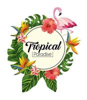 label with tropical flowers with exotic leaves
