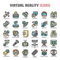 Virtual Reality Thin Line Icons vector