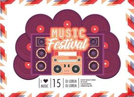 radio with speakers to music festival celebration vector
