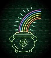cauldron with coins and rainbow neon label