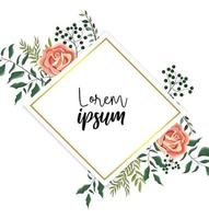 label with roses plants and exotic branches vector