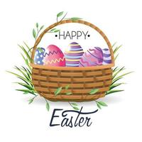 Happy Easter easter eggs decoration inside basket with grass