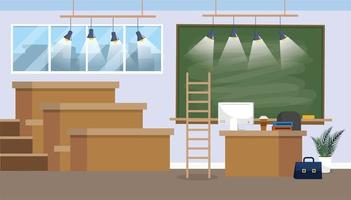 university classroom preparation with blackboard and lights