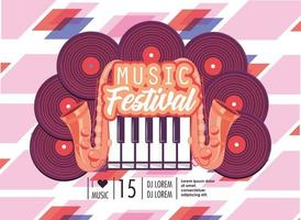discos with piano keyboard to music festival celebration vector