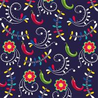 chili peppers with flowers pattern