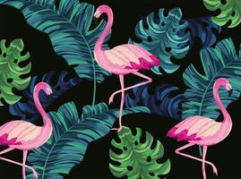 tropical flamingos with exotic leaves background