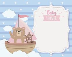 card of cute bear in the ship and clouds