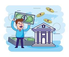 homme avec factures et banque numérique avec des pièces