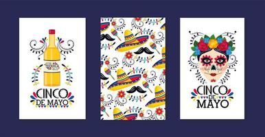 set traditional mexican cards to event celebration vector