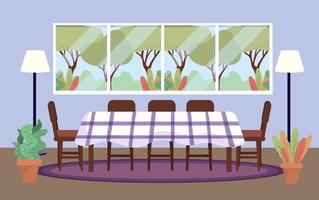 diving room with table and plants decoration vector
