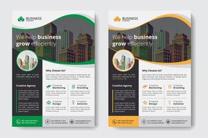 Corporate Business Template with Buildings in Wavy Cutout