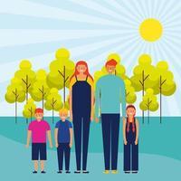 utomhuspark på en solig dag med lycklig familj