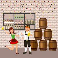 oktoberfest celebration with barrels, tavern and couple dancing and holding beers
