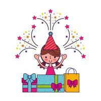 cartão de feliz aniversário com menina sorrindo, caixas de presente e fogos de artifício