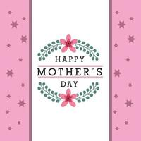 mothers day banner with flowers and pink star pattern