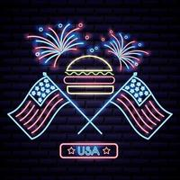 american independence day hamburger with two usa flags and fireworks