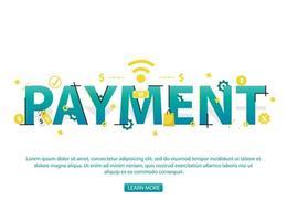 Concetto di pagamento senza contatto con il testo e le icone di pagamento