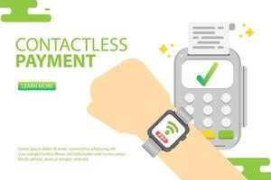 Smart watch using contactless payment. Pay online concept