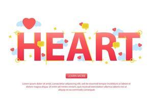 Fond de jour de Valentine avec le texte du coeur et les icônes