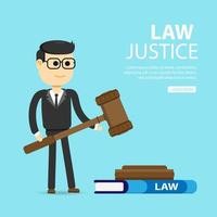 Lawyer holding gavel vector