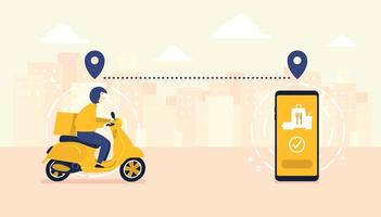 Food delivery service by scooter with courier