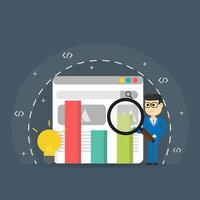 Search engine ranking with man holding magnifying glass on web page vector