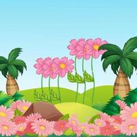 beautiful landscape background with nice flowers