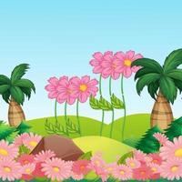 prachtige landschapsachtergrond met mooie bloemen