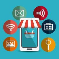 Shopping, commerce électronique et marketing vecteur