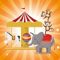 Elephant circus show icon vector