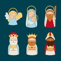 conjunto de caracteres navideños de la epifanía vector
