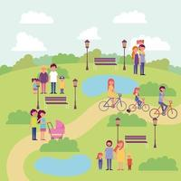 people activity park vector