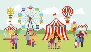 Familias disfrutando de circo al aire libre vector