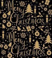 Svart sömlös modell för god jul med gyllene glittrande klockor, träd, snöflingor