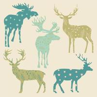Set of deer  and moose.