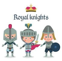 Fairy tales cartoon characters. Fantasy knights boys.