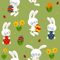 Seamless pattern of funny rabbits, eggs and flowers.