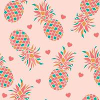 Seamless pattern with pineapples and hearts.