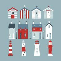 Sea set with beach huts, lighthouses, lifebuoy, street lights and small lodges.