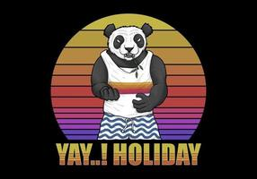 Panda Holiday over retro sunset vector