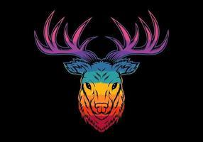 colorful deer head vector