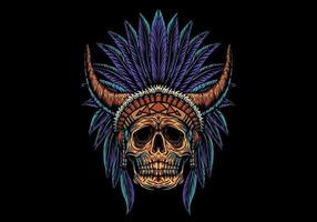 skull indian with horns vector