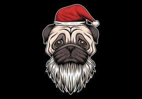 Pug hond met kerstmuts en baard
