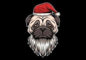 Pug dog with santa hat and beard
