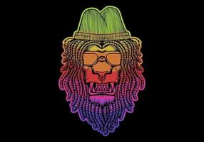colorful lion with dreadlocks wearing hat