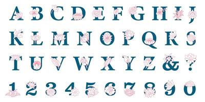 Hand getekend elegant alfabet met bloemen
