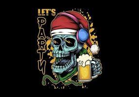 Skull beer christmas illustration vector