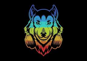 Colorful Wolf wearing headphones vector